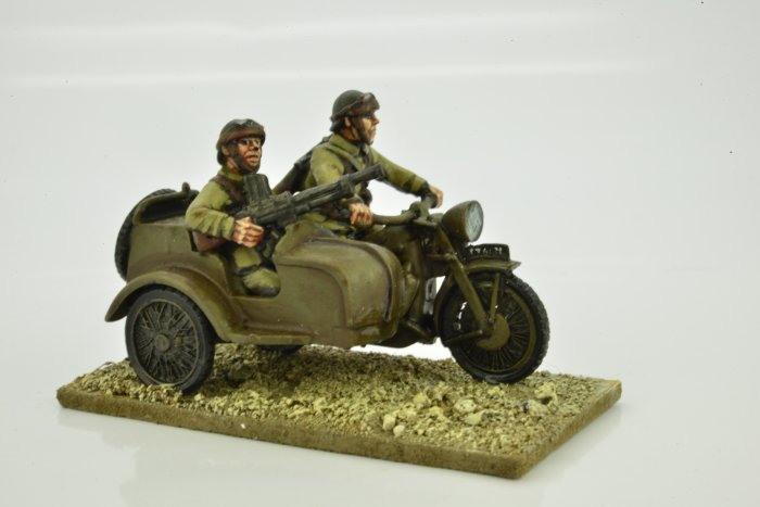 French Motorcycle and Sidecar with Riders.
