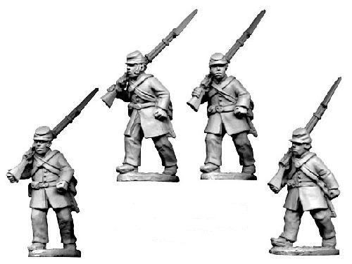 ACW Infantry in Frock Coat and Kepi Marching