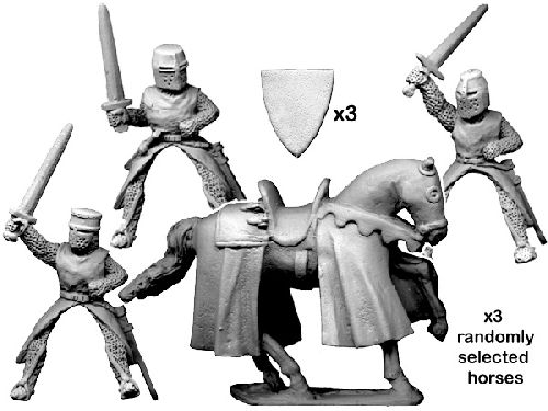 Mounted knights with swords