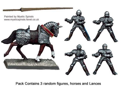 Mounted Men-at-Arms with Lances upright