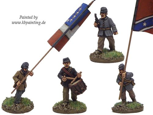 ACW Infantry Command in Jacket and Kepi Advancing