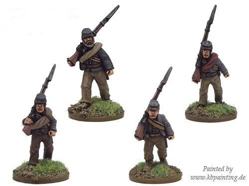 ACW Infantry in Shirt and Kepi Marching