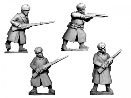 Russian Infantry in Coats and Fur Hats